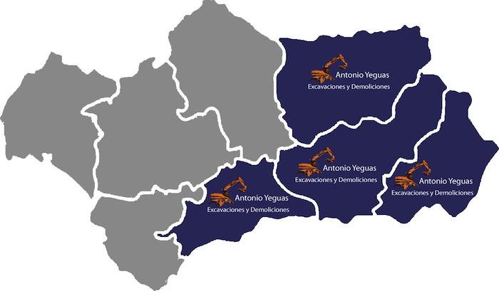 Excavaciones y demoliciones en Granada, Almería, Jaén y Málaga